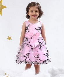Mark & Mia Sleeveless Frock With Floral Embroidery & Bow Applique - Light Pink