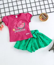 ToffyHouse Short Sleeves Top With Divider Skirt Watermelon Print - Pink Green