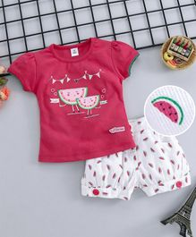 ToffyHouse Half Sleeves Tee And Corduroy Shorts Watermelon Embroidery - Pink White