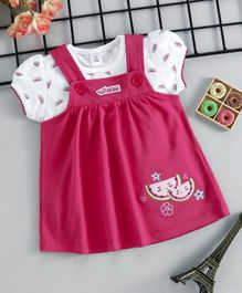 ToffyHouse Dungaree Style Frock With Tee Watermelon Embroidery - Fuchsia White
