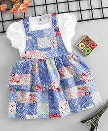 ToffyHouse Dungaree Style Frock With Tee Floral Print - Blue White
