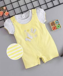 ToffyHouse Striped Dungaree Style Romper With Inner Short Sleeves Tee Butterfly Patch - Yellow