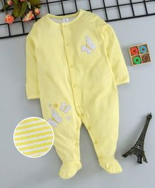 ToffyHouse Full Sleeves Footed Sleepsuit Butterfly Patch - Yellow