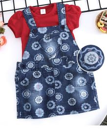 ToffyHouse Denim Dungarees Style Frock With Solid Tee Ship Print - Red & Blue