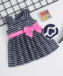 ToffyHouse Sleeveless Striped Frock With Bow - Navy Blue