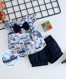 ToffyHouse Cap Sleeves Top With Bow & Shorts City Print - Blue