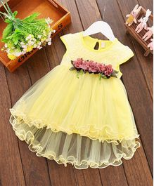 Pre Order - Awabox Flowers Embellished Cap Sleeves Net Dress - Yellow