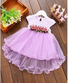 Pre Order - Awabox Flowers Embellished Cap Sleeves Net Dress - Purple