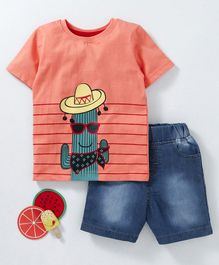 Babyhug Half Sleeves T-Shirt & Denim Shorts Cactus Print - Peach