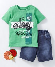 Babyhug Half Sleeves T-Shirt & Denim Shorts Motorcycle Print - Green