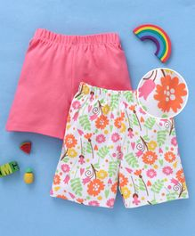 Babyhug Solid & Floral Printed Cotton Shorts - Pink White