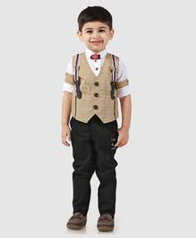 Dapper Dudes Full Sleeves Checks Party Suit With Bow Tie - Beige