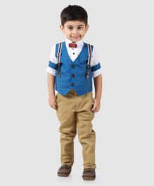 Dapper Dudes Full Sleeves Checks Party Suit With Bow Tie - Blue