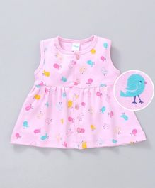 Tango Sleeveless Frock Bird Print - Light Pink