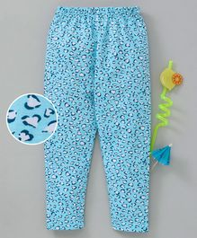 Babyhug Full Length Stretchable Leggings Hearts Print - Blue