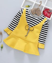 Kookie Kids Full Sleeves Striped Mock Pinafore Frock - Yellow