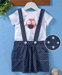 Babyhug Polka Dotted Dungaree Skirt With Inner Tee Owl Print - White Blue