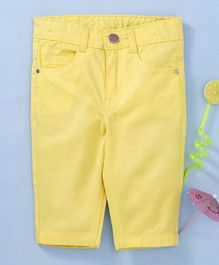 Babyhug Three Fourth Pants With Adjustable Elastic Waist - Yellow