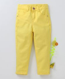 Babyhug Full Length Solid Trouser - Yellow