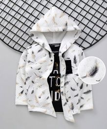 Dapper Dudes Full Sleeves Feathers Print Hooded Jacket With Tee - White & Black