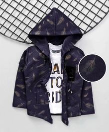 Dapper Dudes Full Sleeves Feathers Print Hooded Jacket With Tee - Navy Blue & White
