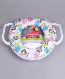 Babyhug Soft Potty Seat With Handle Monky & Flower Print -White