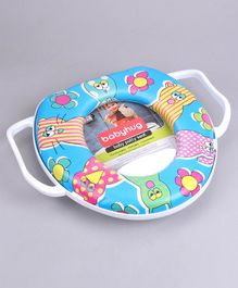 Babyhug Cushioned Potty Seat With Handle Flowers Print - Cream