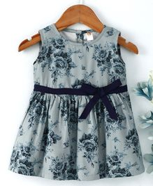 Dew Drops  Sleeves Less One Piece Dresses / Frocks GREY 22 Girl