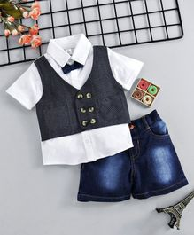 ToffyHouse Party Wear Half Sleeves Shirt With Attached Waistcoat And Denim Shorts - Grey White Blue