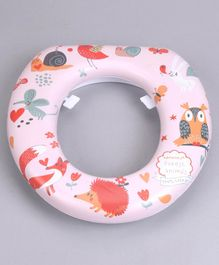 Babyhug Soft Cushioned Baby Potty Seat Forest Animal Print - Light Pink