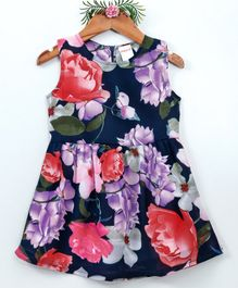 Curlous Sleeveless Floral Print Dress - Multicolor