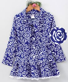 Curlous Roses Print Full Sleeves Dress - Blue