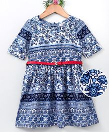Curlous Half Sleeves All Over Print Dress - Blue
