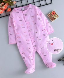 ToffyHouse Full Sleeves Footed Sleepsuit Happy Print - Pink