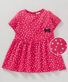 Simply Short Sleeves Printed Frock Bow Applique - Pink