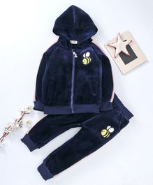 Kookie Kids Hooded Sweat Jacket & Lounge Pant Honeybee Embroidered - Navy Blue