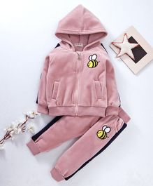 Kookie Kids Hooded Sweat Jacket & Lounge Pant Honeybee Embroidered - Light Pink