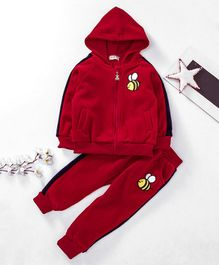 Kookie Kids Hooded Sweat Jacket & Lounge Pant Honeybee Embroidered - Red