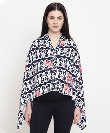 Fashionably Pregnant Full Sleeves Floral Print Maternity Poncho - Blue