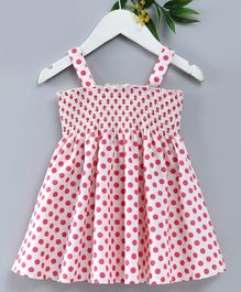 Teddy Sleeveless Frock Polka Dots Print - White & Pink