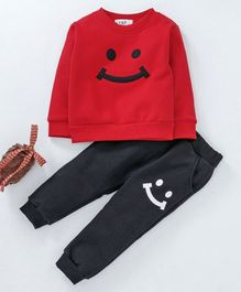 Kookie Kids Full Sleeves Tee & Lounge Pant - Red