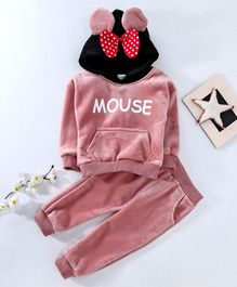 Kookie Kids Hooded Sweatshirt & Pant Set Mouse Print - Light Pink