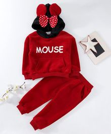 Kookie Kids Hooded Sweatshirt & Pant Set Mouse Print - Red