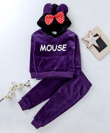 Kookie Kids Hooded Sweatshirt & Pant Set Mouse Print - Purple