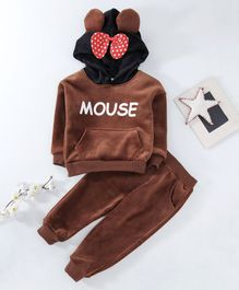 Kookie Kids Hooded Sweatshirt & Pant Set Mouse Print - Brown