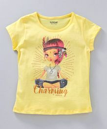 Doreme Short Sleeves Top Charming Print - Yellow