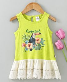 Ollypop Sleeveless Frock Bird Print - Fluorescent Green