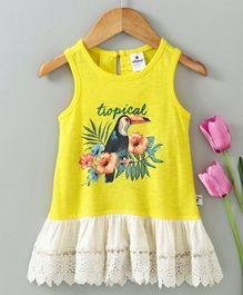 Ollypop Sleeveless Frock Bird Print - Fluorescent Yellow