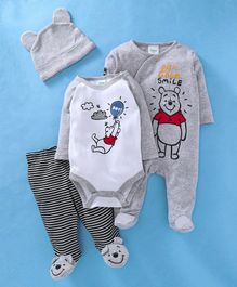 Fox Baby Full Sleeves Onesies Footed Romper With Bootie Legging & Cap Set - Grey
