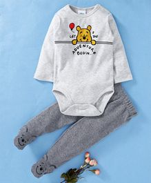 Fox Baby Full Sleeves Onesie And Footed Lounge Pant Winnie The Pooh Print - Grey